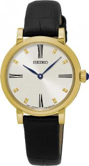 Ladies Gold Plated Strap Watch Sfq814p2