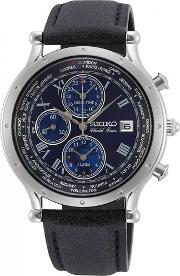 Mens World Time Special Edition Blue Chronograph Dial Black Leather Strap Watch Spl059p1