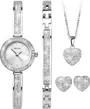 Ladies Crystal Heart Watch And Gift Set 2528g