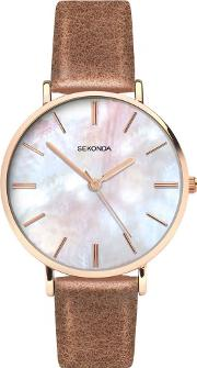 Ladies Editions Brown Leather Strap Watch 2558
