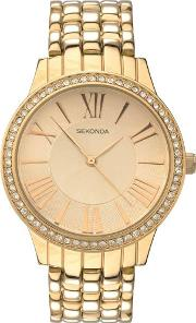 Ladies Editions Gold Plated Stone Set Bracelet Watch 2398