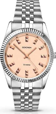 Ladies Gold Dial Stainless Steel Watch 2088