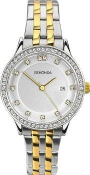 Ladies Harmony Two Tone Gold Plated Silver Stone Set Bracelet Watch 2388