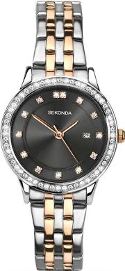 Ladies Harmony Two Tone Rose Gold Plated Silver Stone Set Bracelet Watch 2389