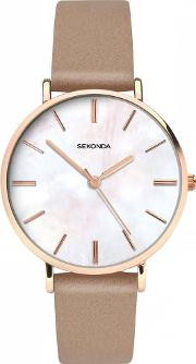 Ladies Rose Gold Plated Beige Strap Watch 2634