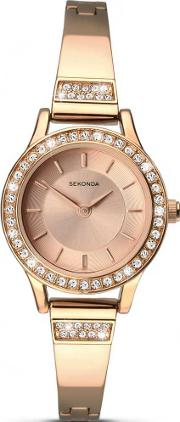 Ladies Rose Gold Plated Crystal Set Watch 2203