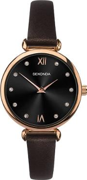 Ladies Rose Gold Plated Dark Brown Leather Strap Watch 2785