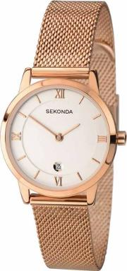 Ladies Rose Gold Plated Mesh Bracelet Watch 2482