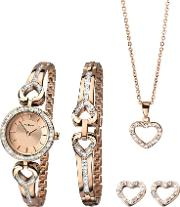 Ladies Rose Gold Plated Open Heart Stone Set Christmas Gift Set 2363g