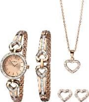 Ladies Rose Gold Plated Open Heart Stone Set Gift Set 2363g