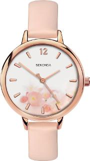 Ladies Rose Gold Plated Pink Floral Watch 2624