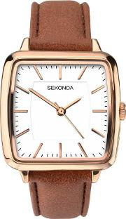 Ladies Rose Gold Plated Strap Watch 2450