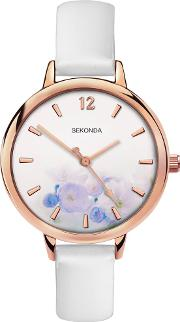 Ladies Rose Gold Plated White Floral Watch 2623