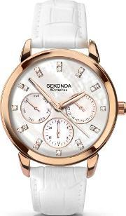 Ladies Rose Gold Plated White Strap Watch 2285