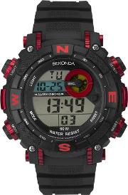 Mens Black Red Rubber Digital Watch 1525