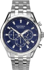 Mens Chronograph Blue Stainless Steel Bracelet Watch 1393