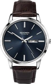 Mens Classic Dark Blue Dial Brown Leather Strap Watch 1662