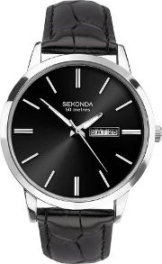 Mens Classic Stainless Steel Black Dial Leather Strap Watch 1705