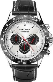 Mens Dual Time Chrono Silver Dial Black Leather Strap Watch 1647