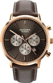 Mens Dual Time Rose Gold Plated Chrono Brown Leather Strap Watch 1659