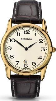Mens Gold Leather Strap Watch 1033