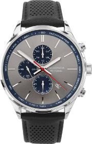 Mens Grey Chronograph Dial Black Leather Strap Watch 1711