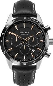 Mens Stainless Steel Black Chronograph Dial Leather Strap Watch 1700