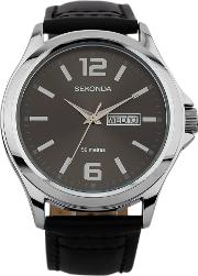 Mens Stainless Steel Dark Brown Dial Leather Strap Watch 1655