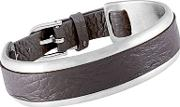 Grace Stainless Steel Brown Leather Bangle V387