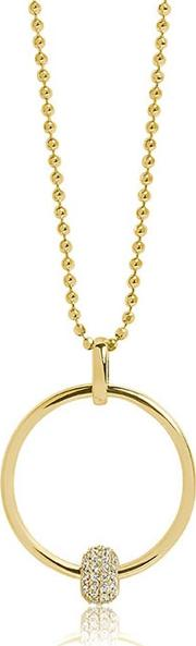 Gold Plated Lariano Necklace Sj P0053 Cz Yg 70