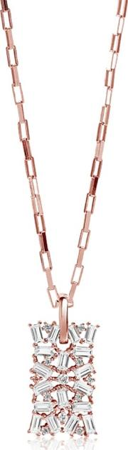 Rose Gold Plated Antella Necklace Sj P0058 Cz Rg 70