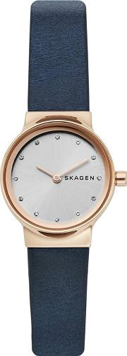 Ladies Freja Rose Gold Plated White Dial Blue Leather Strap Watch Skw2744