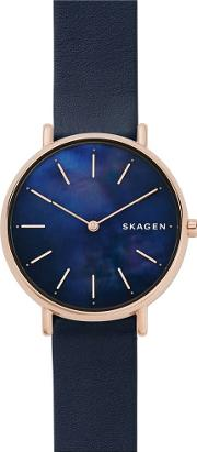 Ladies Signatur Rose Gold Plated Blue Leather Strap Watch Skw2731