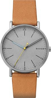 Mens Signatur Stainless Steel Grey Dial Tan Brown Leather Strap Watch Skw6373
