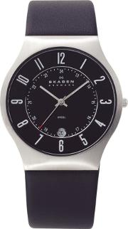 Steel Black Strap Round Black Dial With Date Watch 233xxlslb