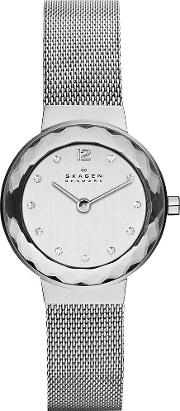 Steel Mesh Round Mother Of Pearl Stone Dial Watch 456sss