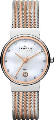 Steel Rose Gold Plated Mesh Mother Of Pearl Stone Dial Watch 355ssrs