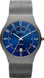 Titanium Mesh Round Blue Dial With Date Watch 233xlttn