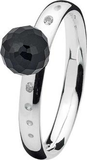 Ladies 'sparkling Night' Silver Black Cz Ring 71309 Xsml