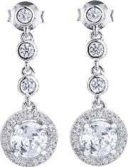 Silver Round Cubic Zirconia Halo Dropper Earrings Thb 05e 3a
