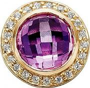 Gold Plated Clear Purple Cubic Zirconia Button Charm 5208888
