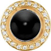 Silver Gold Plated Clear Cz Round Onyx Charm 5408892