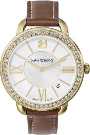 Aila Day Gold Tone Brown Strap Watch 5095940