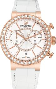 Citra Sphere Rose Gold Tone Chronograph White Strap Watch 5080602