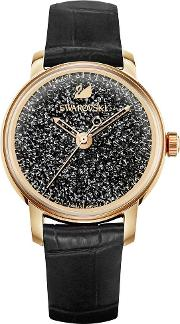 Crystalline Hours Rose Gold Tone Black Strap Watch 5295377
