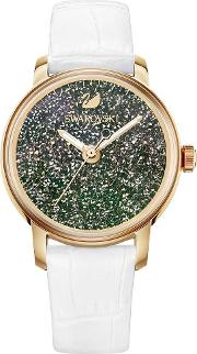 Crystalline Hours Rose Gold Tone White Strap Watch 5344635