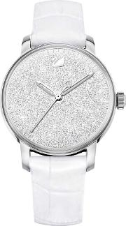 Crystalline Hours Silver Tone White Strap Watch 5295383