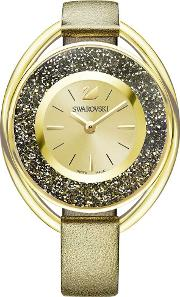 Crystalline Oval Gold Tone Gold Strap Watch 5296314