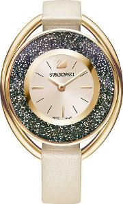 Crystalline Oval Rose Gold Tone Pink Strap Watch 5296319