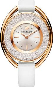 Crystalline Oval Rose Gold Tone White Strap Watch 5230946
